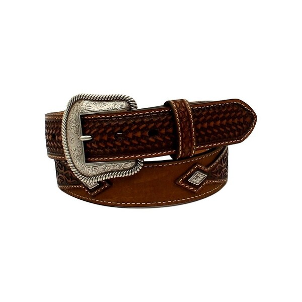Nocona Western Belt Mens Embossed Conchos Diamond Brown