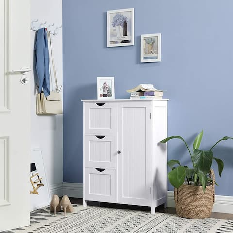 Nestfair White Bathroom Storage Cabinet with 3 Large Drawers and 1 Adjustable Shelf