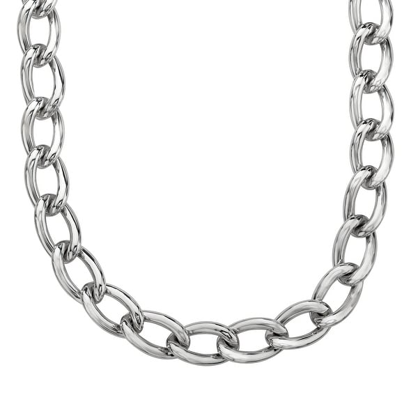 Men's Curb Chain Necklace in Sterling Silver - White