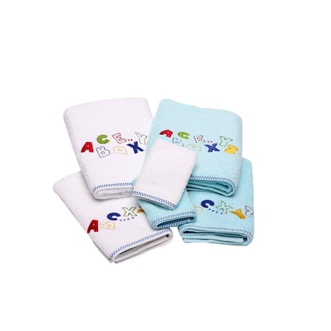 Lucia Minelli Kid's Alphabet Embroidered Turkish Cotton Bathroom Towel Set - Quick Dry and Plush Bath Towels (Set of 6)