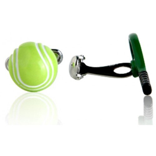 Tennis Racquet and Ball Sports Athlete Cufflinks