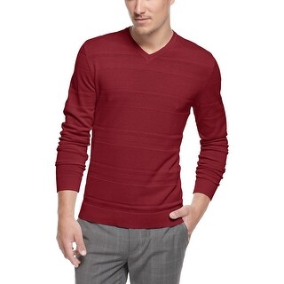ALFANI Red Label Slim Fit Textured V-Neck Sweater Crimson Red X-Large XL $69
