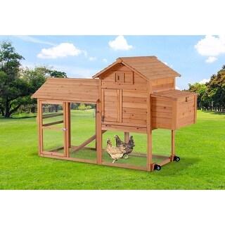 Lovupet Chicken Rabbit Poultry Coop Hen House Pet Cage Backyard Retractable Wheel 0309L