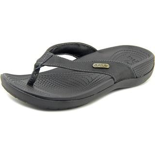 Crocs Ella Comfortpath Flip Youth Open Toe Leather Black Wedge Sandal