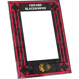 Chicago Blackhawks Art Glass Vertical Picture Frame