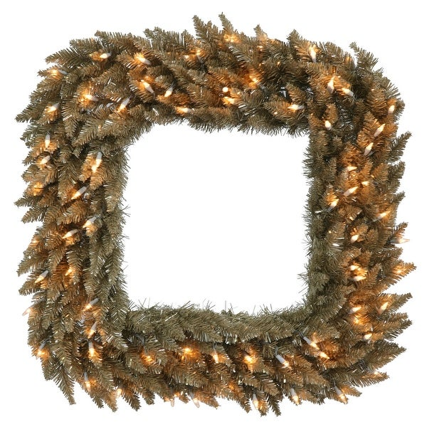 "30"" Antique Champagne Fir Sq Wreath 70CL"