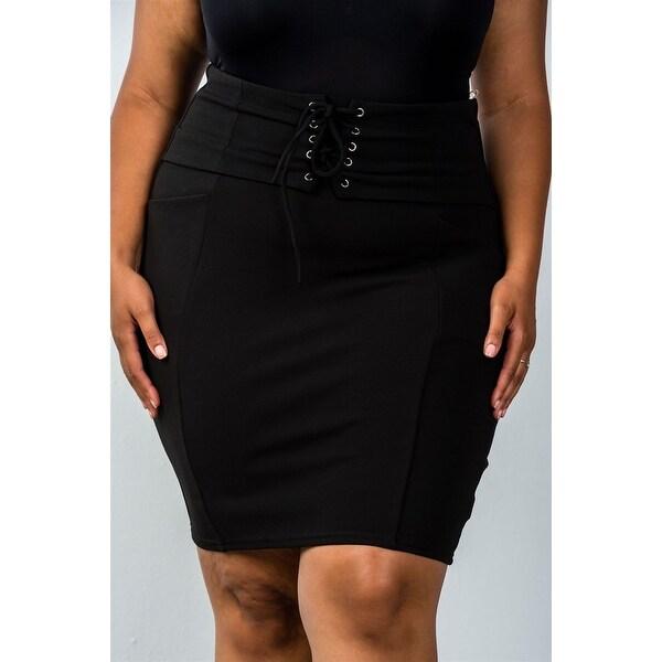 094241d791 Ladies Fashion Plus Size Self Tie Lace Up Pencil Mini Skirt - Size - 3Xl