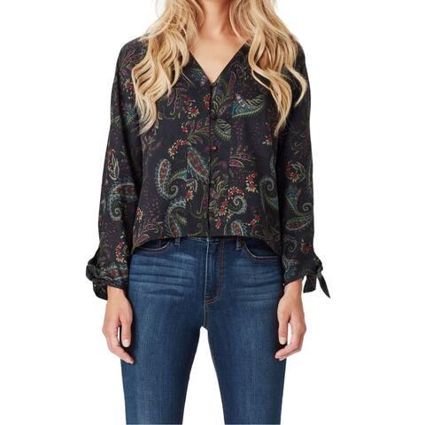 Jessica Simpson Womens Black Size Large L V-Neck Paisley Print Blouse