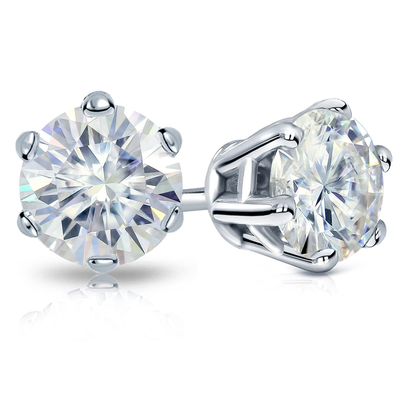 2 Ct Round Cut Moissanite Diamond Solitaire Stud Earrings 14K White Gold Finish