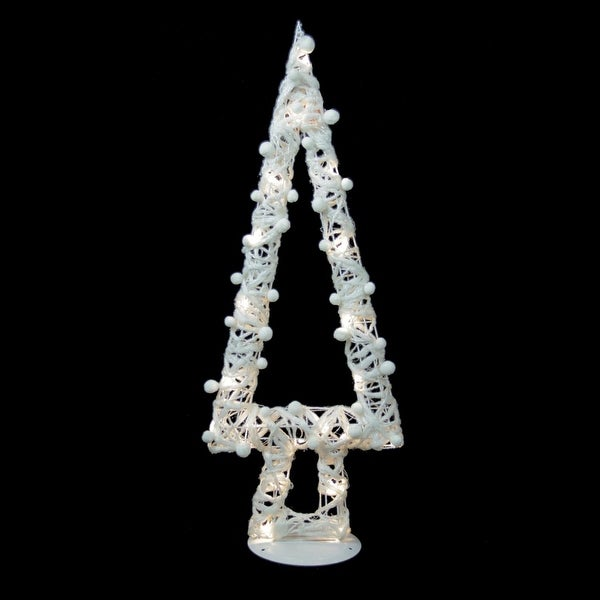 """34"""" Lighted White Cotton String Glittered Christmas Tree Figure Decoration"""