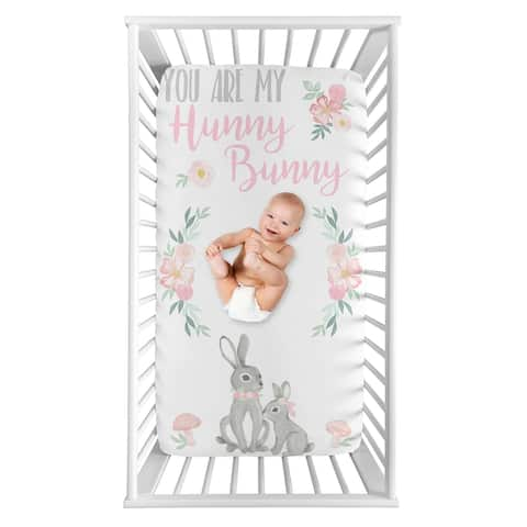 Woodland Bunny Floral Collection Girl Photo Op Fitted Crib Sheet - Blush Pink and Grey Boho Watercolor Rose Flower Forest