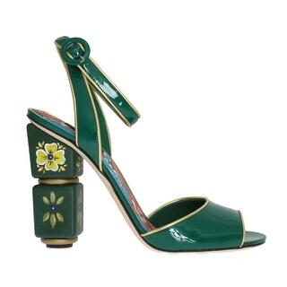 Dolce & Gabbana Green Leather Handpainted Shoes - eu40-us9-5