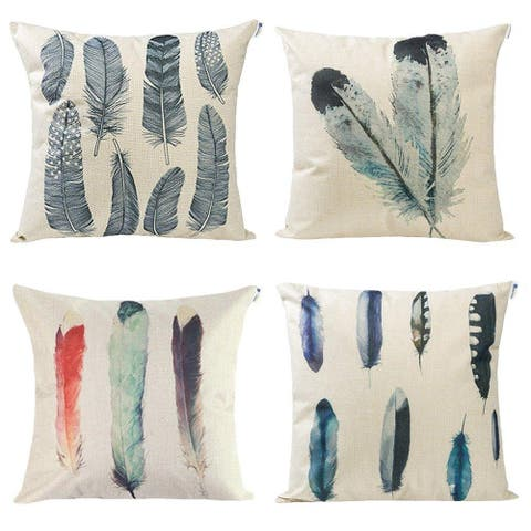 Set of 4 Feather Print Decorative Throw Pillow Covers, 18 x 18 inch