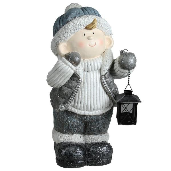 "18.5"" Snowy Woodlands Little Boy Holding Tea Light Lantern Christmas Tabletop Figure"