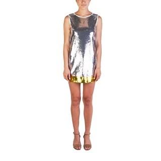 Prada Women's Silk Cotton Blend Shimmering Beaded Dress White - 4