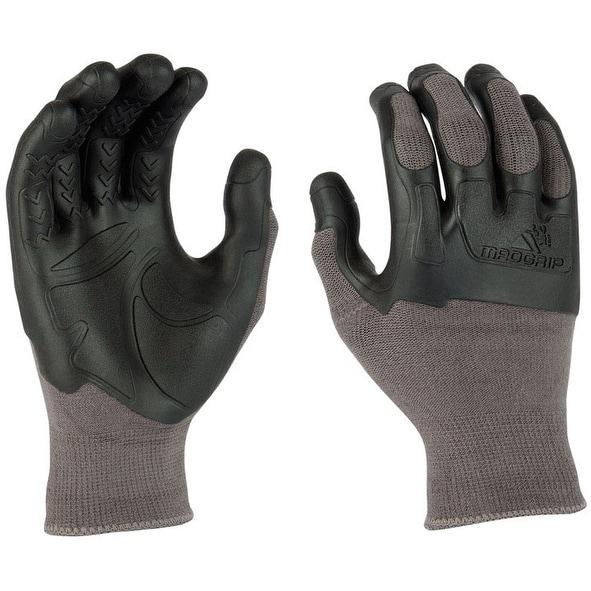 MadGrip 459479 Latex Pro Palm Knuckler Gloves, Large, Grey/Black