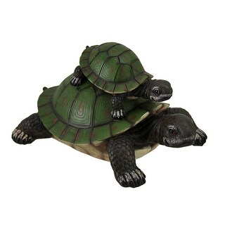 Adorable Piggy Back Ride Mother and Child Tortoise Statue - Green