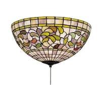 "Meyda Tiffany 27442 Tiffany Turning Leaf 3 Light 16"" Wide Flush Mount Ceiling Fixture with Tiffany Glass Shade"