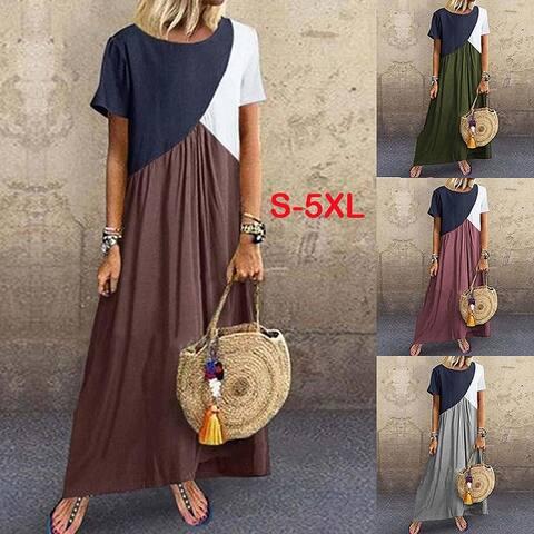 S-5Xl Vintage Short Sleeve Long Patchwork Casual Loose Plus Size Retro Maxi Dresses