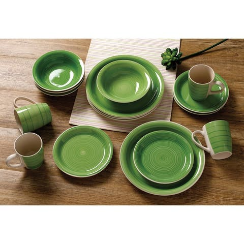 16 Piece Hand Painted Color Dinnerware Set, Service for 4