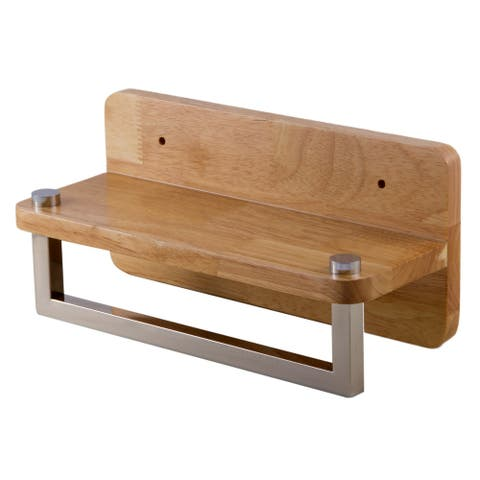 "ALFI brand AB5510 12"" Small Wooden Shelf with Chrome Towel Bar Bathroom Accessory"