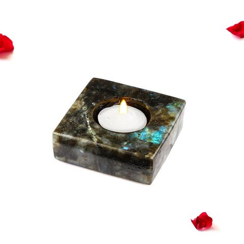 Evaluesell Labradorite Candle Holder, Home Decor - 75 x 75 x 25 mm