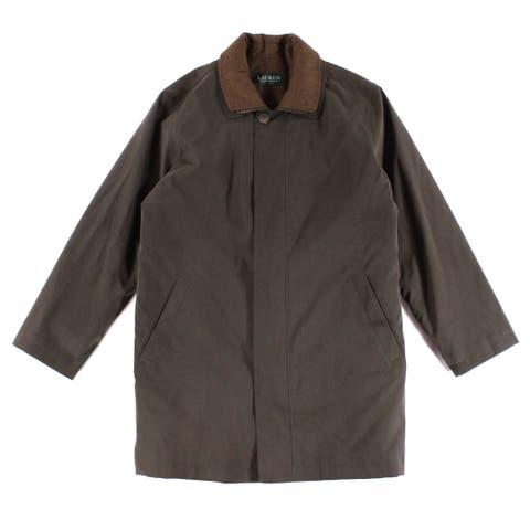 LAUREN BY RALPH LAUREN Dark Mens Rainwear Coat