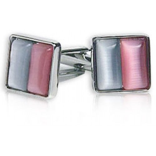 Silver and Pink Glass Cufflinks