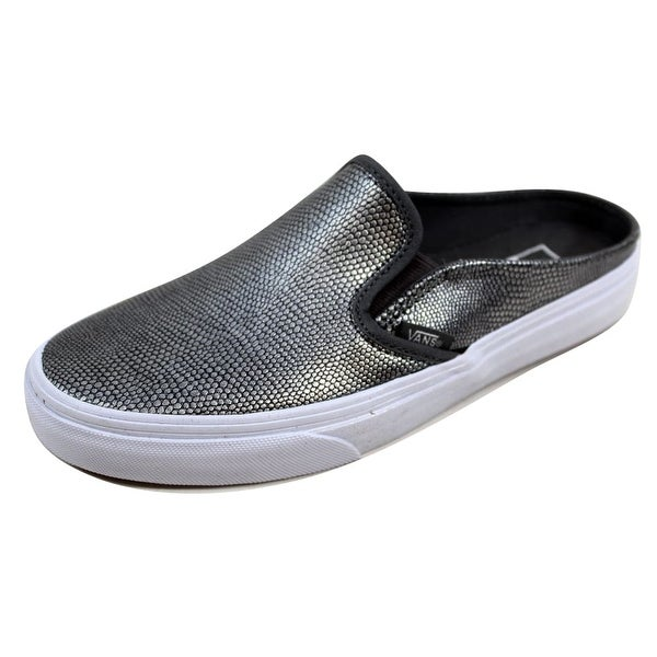 5104c83d1f Vans Men  x27 s Classic Slip On Mule Embossed Leather Grey True White