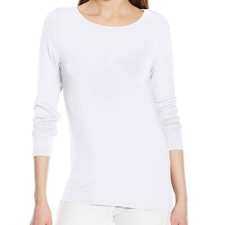 Calvin Klein NEW White Women's Size Large L Boat-Neck Liquid Jersey Top