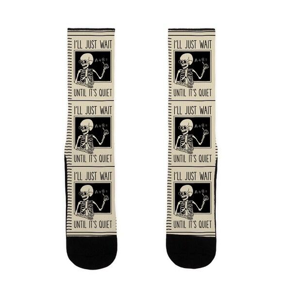 LookHUMAN I'll Just Wait Until It's Quiet - Skeleton Teacher US Size 7-13 Socks