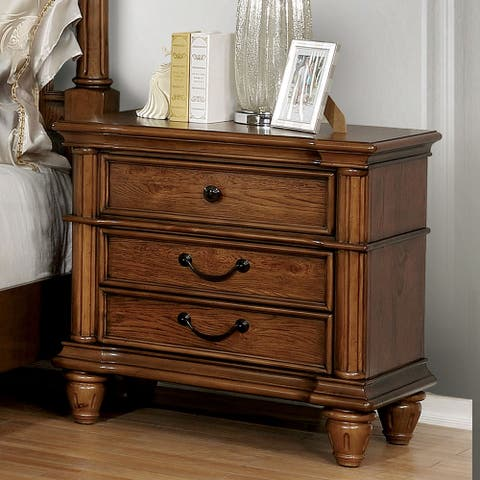 Furniture of America Gorz Traditional Oak Wood 3-drawer Nightstand