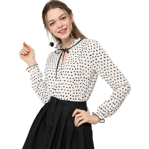 Unique Bargains Women's Tie Ruffled Neckline Polka Dots Vintage Blouse Bell Long Sleeves Tops