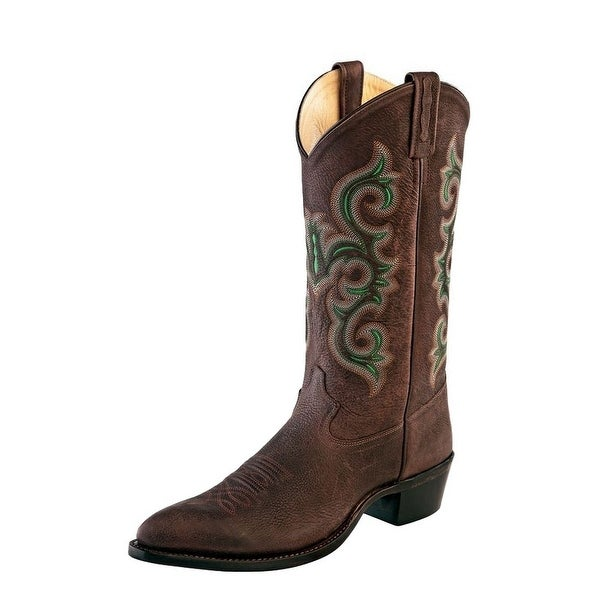 Old West Cowboy Boots Mens Pointed Pull Tabs Leather Red Brown