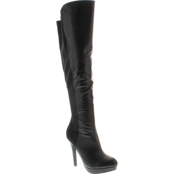Delicious Women's Venga Faux Leather Over The Knee High Heel Boots - Black