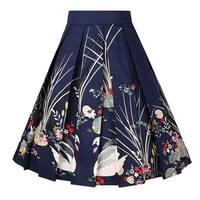 Girstunm Women's Pleated Vintage Skirt Floral Print, Navy-swan, Size Medium