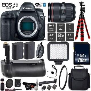 Canon EOS 5D Mark IV DSLR Camera with 24-105mm f/4L II Lens + Tripod + UV Filter + Case + Wrist Strap + Card Reader - Intl Model