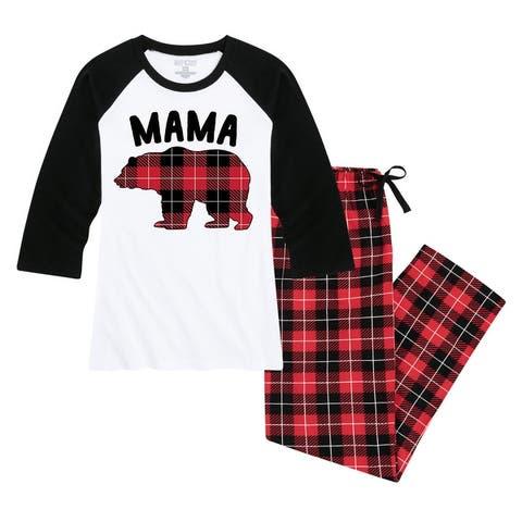 Mama Bear - Women's Matching Family Christmas Pajama Set - White/Black