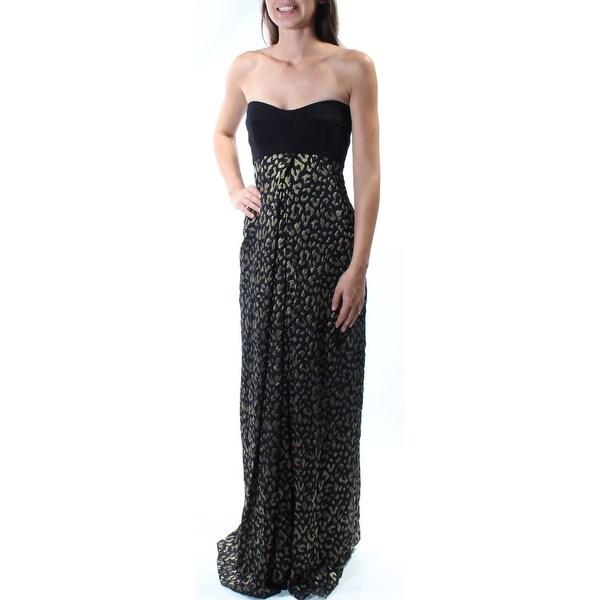 Shop Womens Black Gold Animal Print Full Length Empire Waist Formal