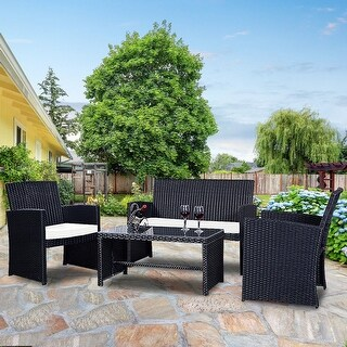 Costway 4 Pc Rattan Patio Furniture Set Garden Lawn Sofa Wicker Cushioned  Seat Black