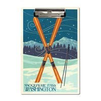 Snoqualmie Pass, WA - Crossed Skis - LP Artwork (Acrylic Clipboard)
