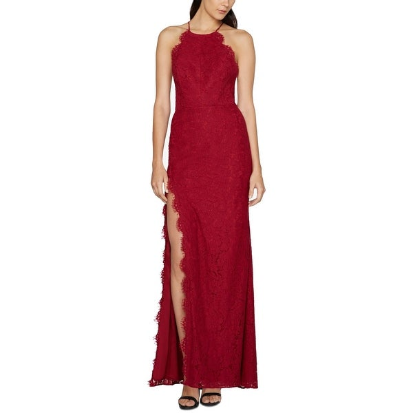 FAME AND PARTNERS Red Women's Size 6 Lace Halter Slit Gown Dress