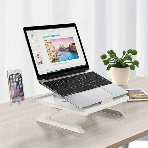 Adjustable Laptop Desk Stand with Phone Holder - White - 2pc