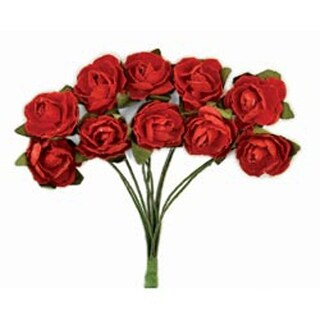 """Fire Red - Mini Paper Blooms .5"""" Flowers W/Wire Stems 10/Pkg"""