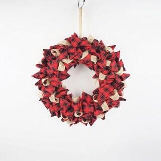 Celebrations JK94321S Christmas Plaid Wreath Decoration, Fabric, Red/Black
