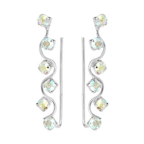 Handmade Twinkling Cubic Zirconia Gemstones on Sterling Silver Crawler Earrings (Thailand)