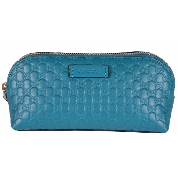 Gucci 449894 Cobalt Blue Leather Micro GG Guccissima Cosmetic Bag