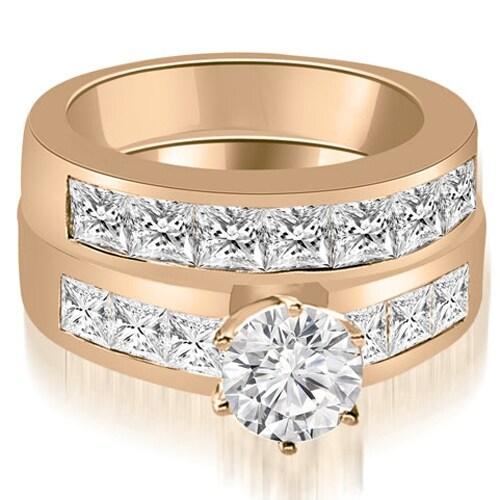 3.40 cttw. 14K Rose Gold Channel Set Princess Cut Diamond Bridal Set