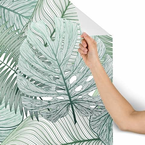 Bondai Green Leaves Removable Wallpaper - 10'ft H x 24''inch W