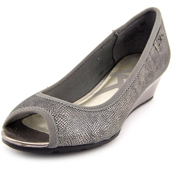 Anne Klein Sport Camrynne Women Open Toe Synthetic Gray Wedge Heel